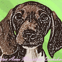 Dachshund Pop Art Print Photography - Lime Green - By Aston Acres Dachshunds