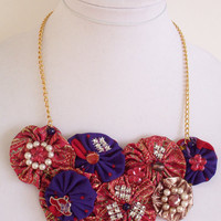 Purple and Red Textile Art Statement Necklace, Red Hat Jewelry, Handmade Unique Fiber Jewelry
