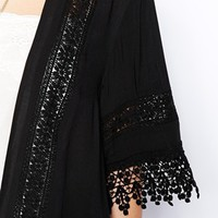 New Look Petite Crochet Insert Kimono at asos.com