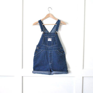 80s LEVIS overalls shorts / grunge dark wash denim overall dungarees small