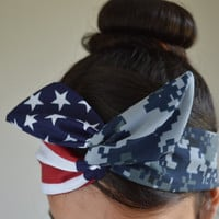 Navy American flag headband, digital Camo Patriotic Dolly bow, Woodland American Flag head band, hair bow Promotion code:  WANELO10