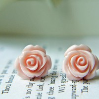 Pale Pink Rose Titanium Earrings. Titanium Posts. Hypoallergenic. Pastel Color. Spring | Luulla