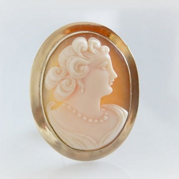 Antique High Relief Shell Cameo - Vintage Gold Convertible Cameo Pendant Brooch - Hand Carved Cameo Pin - Victorian Silhouette Jewelry