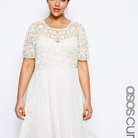 ASOS CURVE SALON Skater Dress With Embellishment at asos.com