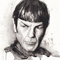 """Spock Portrait Star Trek Watercolor Sci-Fi Art"" - Art Print by Olga Shvartsur"