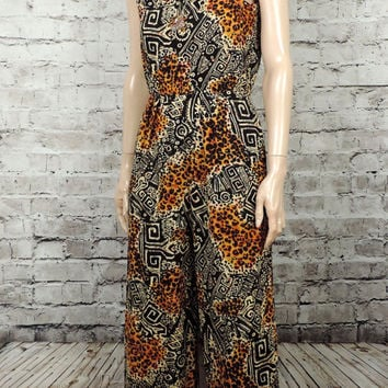 90's Tribal Jumpsuit/ 1990's Cheetah Tribal Print Jumper/ Vintage 90's/ S
