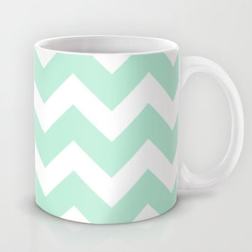 Chevron Mint Green & White Mug by BeautifulHomes | Society6