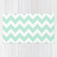 Chevron Mint Green & White Area & Throw Rug by BeautifulHomes | Society6