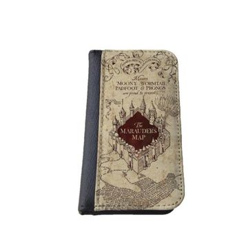 Harry Potter inspired The Marauders Map Samsung S4 S5 wallet case, iPhone 4/5 5C