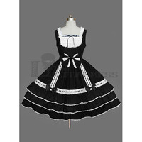 Fashionable Sleeveless U-neck Bowknots Multi-Layer Cotton Black and White Gothic Lolita Dress [TQL120504023] - £50.59 :