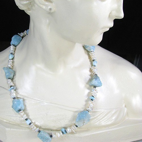 Chunky Blue White Gemstone Necklace Larimar Amazonite Pearls | bohowirewrapped - Jewelry on ArtFire