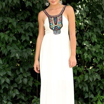 Bali Nights Bohemian Bead Maxi Dress