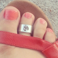 Toe ring handstamped  3/8 wide OM symbol or  choose  your symbol