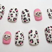 3D Acrylic Fake Nails Pink Leopard Print Bow Heart by NailKandy
