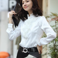 Women Satin Ruffle Neck Long Sleeve Blouse Shirt