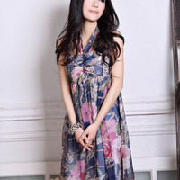 Sleeveless Print Chiffon Halter Women Dress