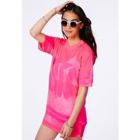 Missguided - Hugette Neon Pink American Football Mesh T-Shirt