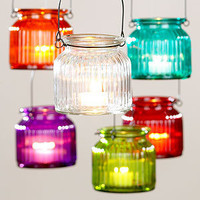 Hanging Glass Tealight Jars, Set of 6 | Candles and Candleholders| Home Decor | World Market
