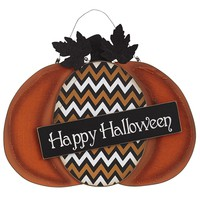 "Chevron ""Happy Halloween"" Pumpkin Sign"