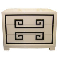 Quotient - Kittinger - Almond Lacquered Greek Key Front Chest by Kittinger - 1stdibs