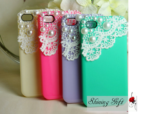 4 Colors For Choice Lace with Pearl iPhone 4 case by Shininggift