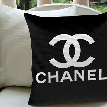 GREAT SALE Chanel Black Design Pillow Case For Decorative Pillow Cover 18 x 18 Inches One Side & Two Side