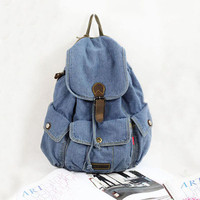 Denim Drawstring Travelling Women Backpack