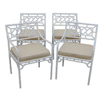 Bridges Over Time - 4 faux bamboo regency style chairs in white paint - 1stdibs