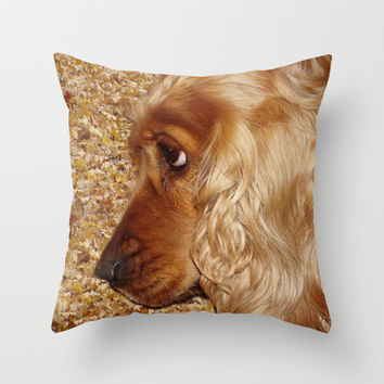 English Cocker Spaniel Throw Pillow by Erika Kaisersot