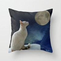 White Cat and Moon Throw Pillow by Erika Kaisersot