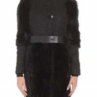 Boutique 1 - DROME - Black Belted Shearling Coat | Boutique1.com