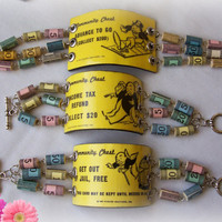 "Size 7 1/2"" Bracelet - Monopoly Community Chest Card - Get Out Of Jail Free - Paper Beads - Paper Jewelry - Statement Bracelet - Upcycled"