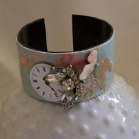 Vintage Inspired Bracelet -  Paper Cuff - Bangle - Paper Jewelry - Decoupage - Vintage Watch Face - Butterfly - OOAK