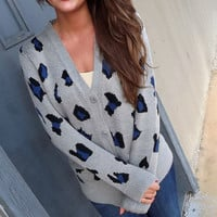 Gray + Blue Leopard Cardigan