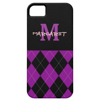 Monogram Purple Black Argyle iPhone 5/5s Case
