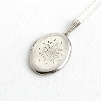 Vintage Sterling Silver Oval Floral Embossed Locket Necklace - Carl Art 1960s Flower Etched Pendant Jewelry