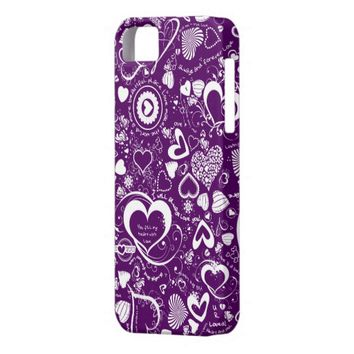 Heart Love Doodles, Purple-White iPhone 5/5s Case