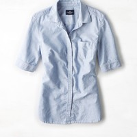 AEO Women's Half-sleeve Button Down Shirt (Light Blue)