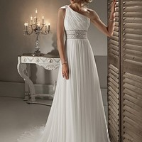 Buy discount Elegant Exquisite Chiffon Sheath One Shoulder Neckline Wedding Dress at dressilyme.com