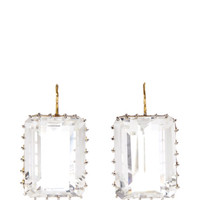 One of a Kind Rectangle Rock Quartz Earrings by Renee Lewis - Moda Operandi