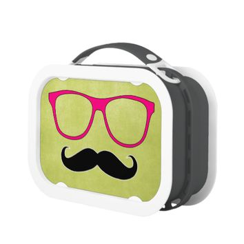 Hipster Mustache and Pink Glasses