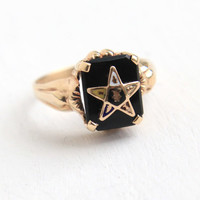 Vintage 10K Yellow Gold Onyx Black Stone Order of the Eastern Star Ring - 1930s Masonic Art Deco Size 5 3/4 Ostby and Barton OB Fine Jewelry