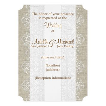 Linen Lace Wedding Invitation