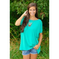 PIKO:Just About Anywhere Short Sleeve Blouse-Teal
