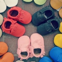 Baby Leather Moccassins, Baby Moccs 11 colors custom sizes 0-24 months
