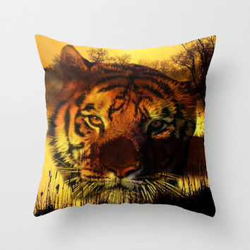 Tiger and Sunset Throw Pillow by Erika Kaisersot