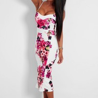 Romelia White and Red Floral Bodycon Midi Dress | Pink Boutique