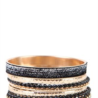Bangles Set with Glitter and Twisted Metal Design