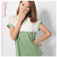 Romantic Floret Grenadine Lace Splicing Tee Green-Wholesale Women Fashion From Icanfashion.com