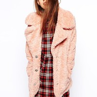 ASOS Faux Fur Coat In Teddy Texture